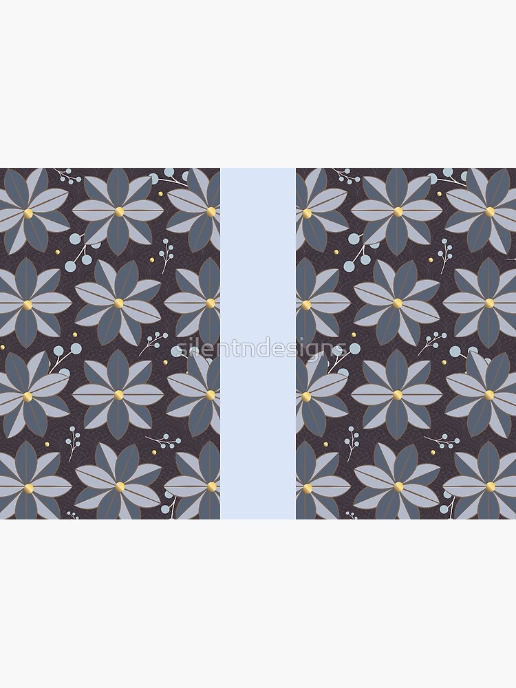 Floral Pattern 2: Purple & Blue, Flowers, Pretty, Nature, Blossom, Leaves, Berries, Home Decor by silentndesigns