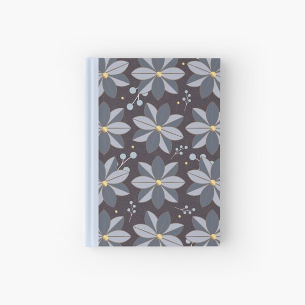 Floral Pattern 2: Purple & Blue, Flowers, Pretty, Nature, Blossom, Leaves, Berries, Home Decor Hardcover Journal