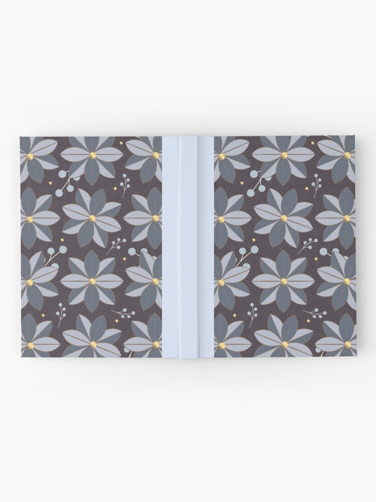 Alternate view of Floral Pattern 2: Purple & Blue, Flowers, Pretty, Nature, Blossom, Leaves, Berries, Home Decor Hardcover Journal
