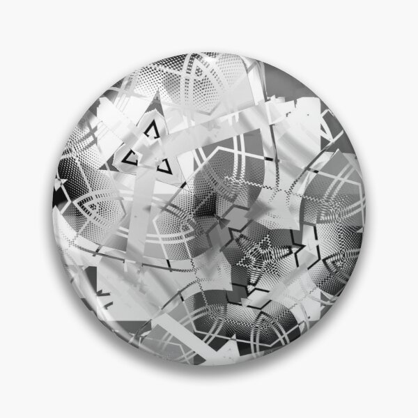 Colorless abstract black and white circle with triangles Pin