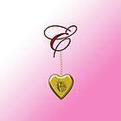 E Golden Heart Locket by Chere Lei