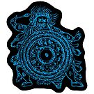 TamDin Buddhist Protective Charm sky blue on black by Hedrin
