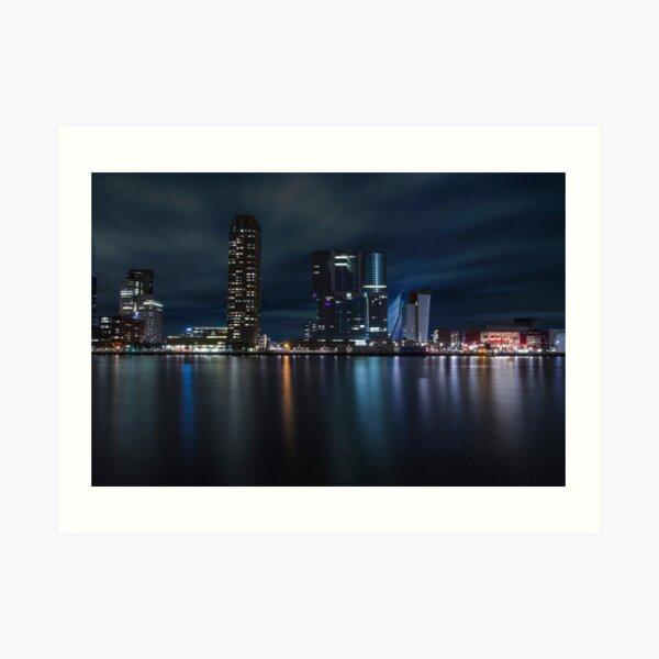Rotterdam skyline by night Art Print
