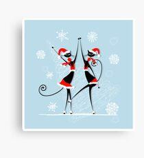 Amusing Christmas cats graphics Canvas Print