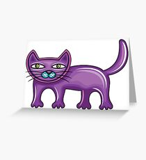 Cartoon purple cat Greeting Card