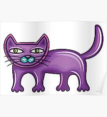 Cartoon purple cat Poster
