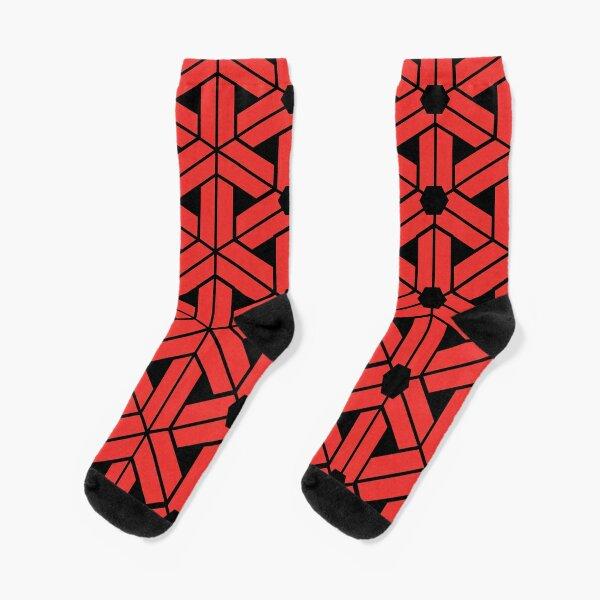 Geometric Red Ornamental Pattern Socks