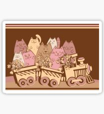 Amusing cartoon toy train cats design Sticker