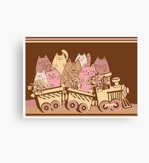Amusing cartoon toy train cats design Canvas Print