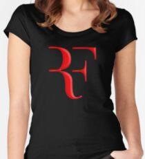 rf, roger federer, roger, federer, tennis, wimbledon, grass, tournament, ball, legend, sport, australia, nadal, net, cool, logo, perfect. Women's Fitted Scoop T-Shirt