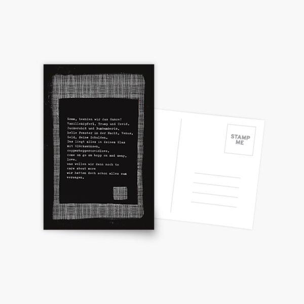 Komm, beenden wir das Ganze ... Gedicht 19 aus Lockdwon - ein C-MOVIE von Pfeiffer & Meister Postkarte