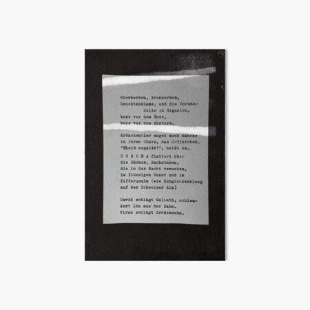Bierkorken, Kronkorken ... Gedicht 21 aus Lockdwon - ein C-MOVIE von Pfeiffer & Meister Galeriedruck