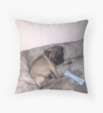 Pugsley The Pug Puppy and His Bone Throw Pillow