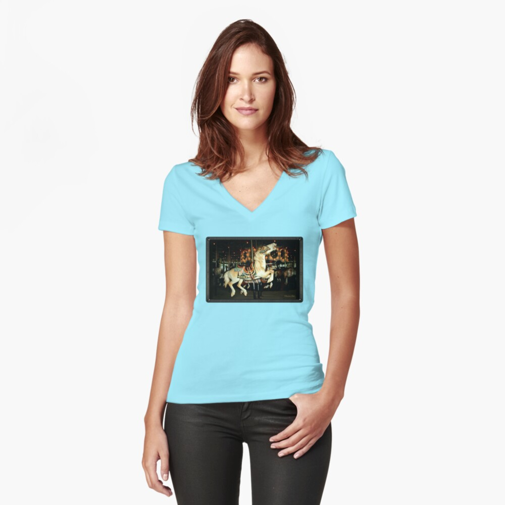 Beautiful Horse on the Carousel Fitted V-Neck T-Shirt