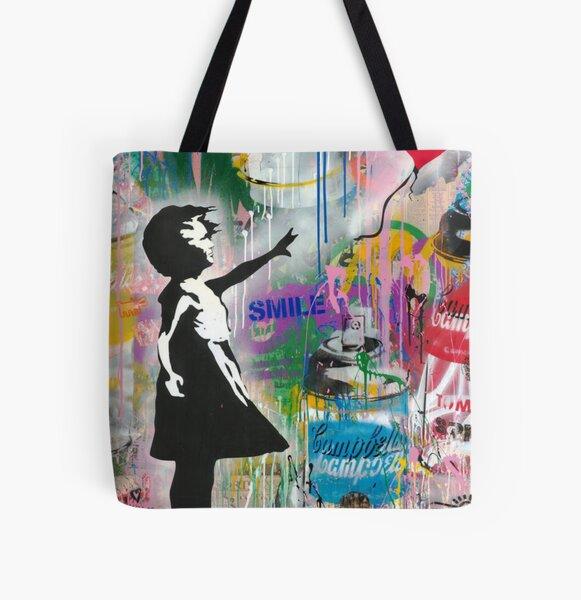 Banksy with Balloon Girl All Over Print Tote Bag