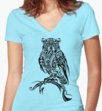 Tribal Owl Women's Fitted V-Neck T-Shirt
