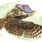 Strange Eurasian Eagle Owl by Goldeen Ogawa