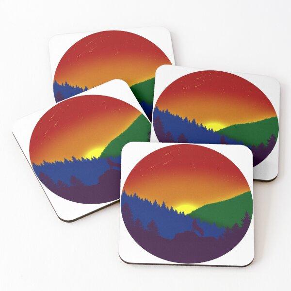 Desaturated Subtle Gay Pride Flag Landscape Coasters (Set of 4)
