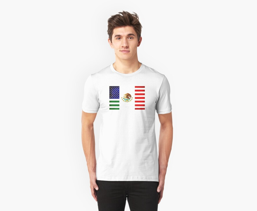 Mexican And American Flag Crossed
