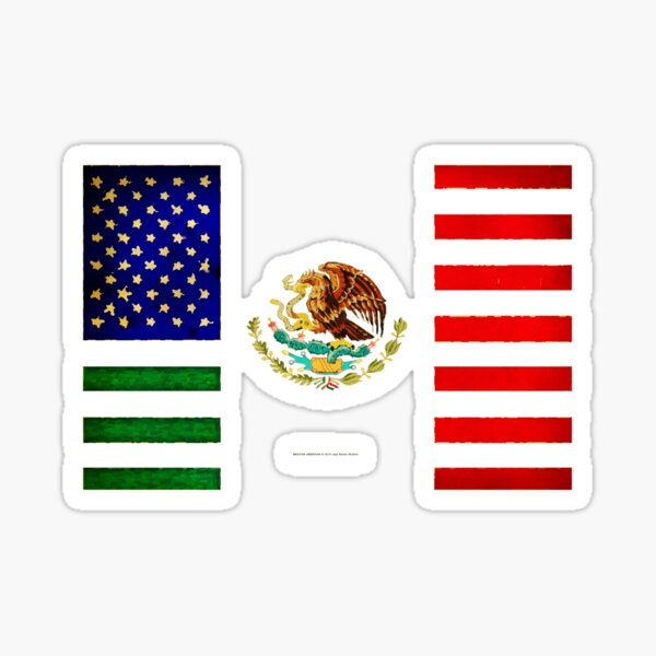 MEXICAN AMERICAN FLAG - 017 Sticker