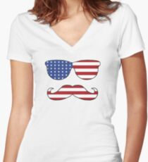 Patriotic Funny Face Women's Fitted V-Neck T-Shirt