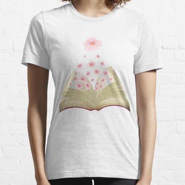 flowers growing from book Essential T-Shirt