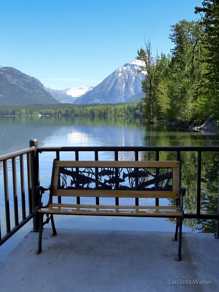 The Bench at Lake McDonald by Lucinda Walter