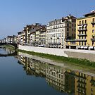 Reflection on the Arno River - Florence, Italy by Lucinda Walter