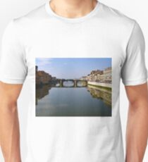 Bridge and Buildings ~ Reflections on the Arno River Unisex T-Shirt