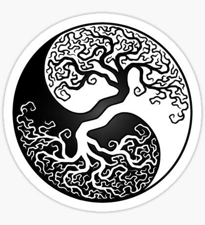 Weißer und schwarzer Baum des Lebens Yin Yang Sticker