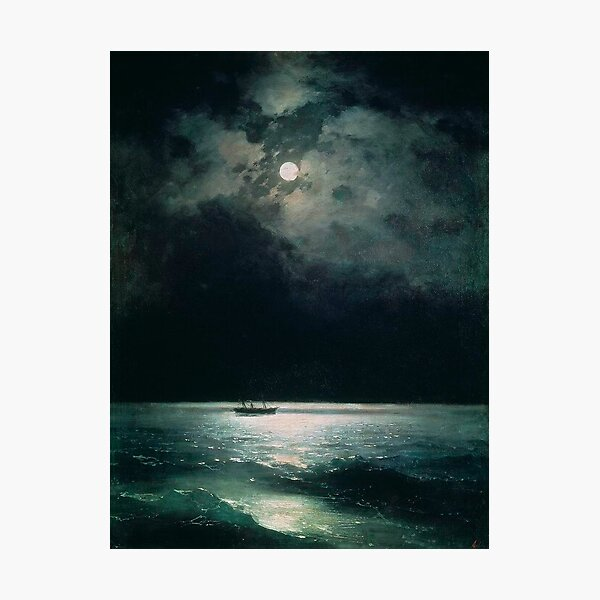 The Black Sea at Night, by Ivan Aivazovsky Photographic Print