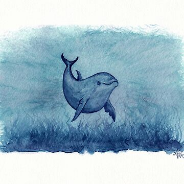 """Notches Blue"" ~ watercolor dolphin painting by Amber Marine by AmberMarine"