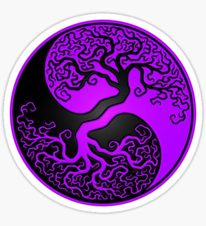 Purple and Black Tree of Life Yin Yang Sticker