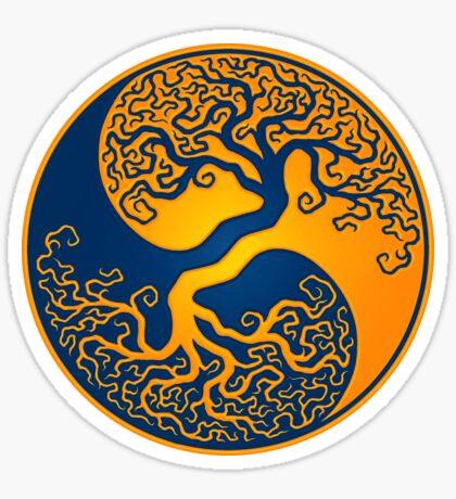 Yellow and Blue Tree of Life Yin Yang Sticker