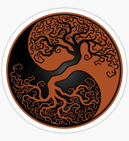 Brown and Black Tree of Life Yin Yang Sticker