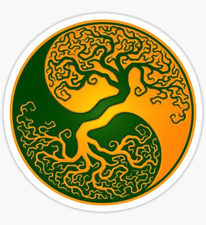 Green and Yellow Tree of Life Yin Yang Sticker