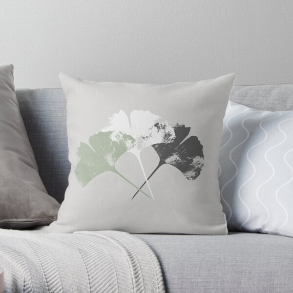 Abstract Ginkgo Leaves - Faded Grunge Looks Throw Pillow