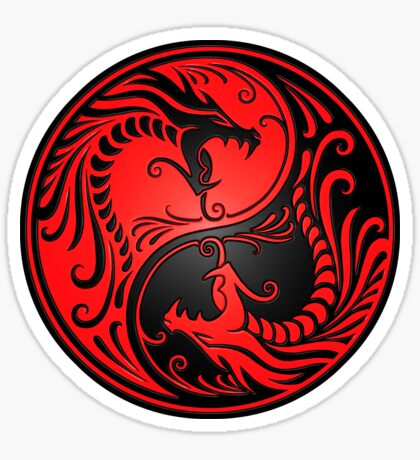 Yin Yang Dragons Rot und Schwarz Sticker