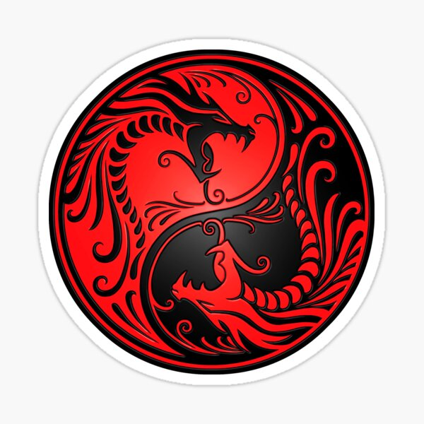Yin Yang Dragons Red and Black Sticker