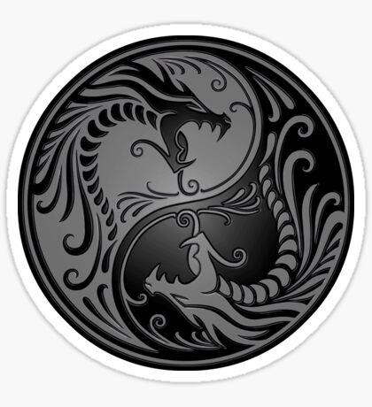 Yin Yang Dragons Grau und Schwarz Sticker