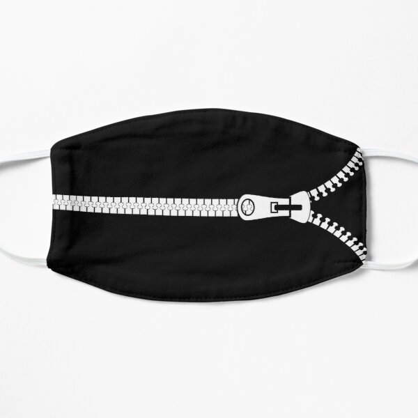 Zip It Up Plain Solid Black With White Teeth Zipper Facemask Flat Mask