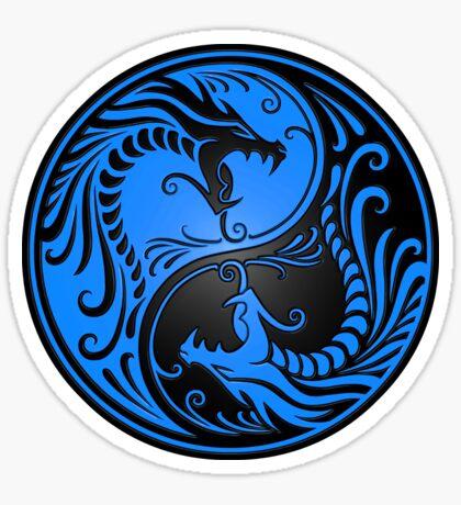 Yin Yang Drachen blau und schwarz Sticker