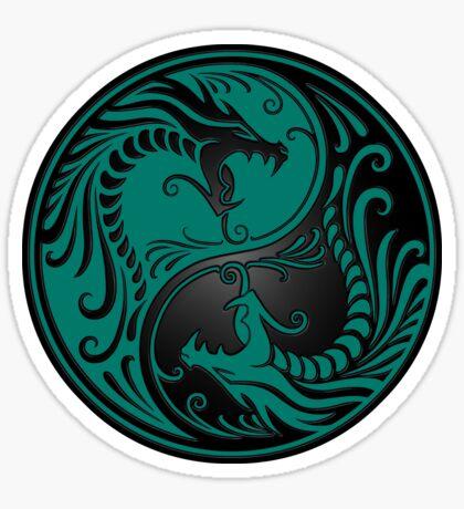 Yin Yang Drachen Teal Blau und Schwarz Sticker
