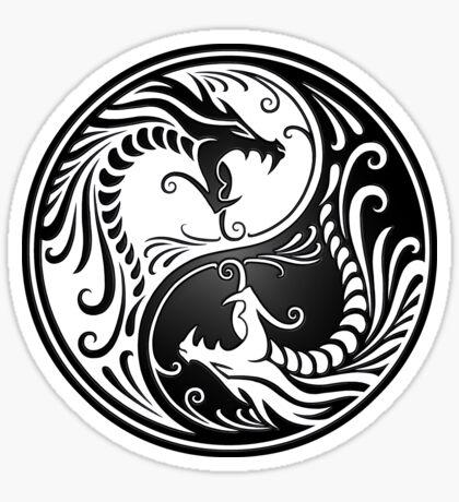 Yin Yang Dragons weiß und schwarz Sticker