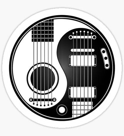 Weiße und schwarze akustische E-Gitarren Yin Yang Sticker