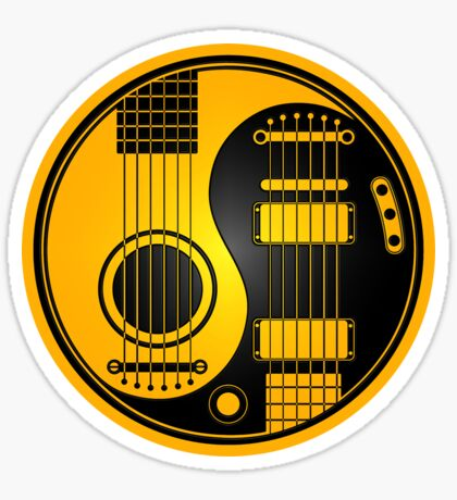 Yellow and Black Acoustic Electric Guitars Yin Yang Sticker