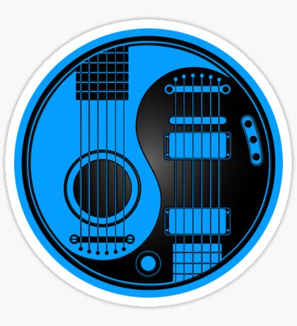 Blue and Black Acoustic Electric Guitars Yin Yang Sticker