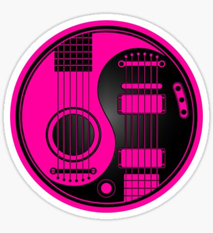 Pink and Black Acoustic Electric Guitars Yin Yang Sticker