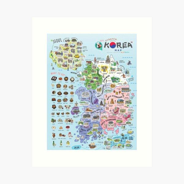 South Korea Map Art Print