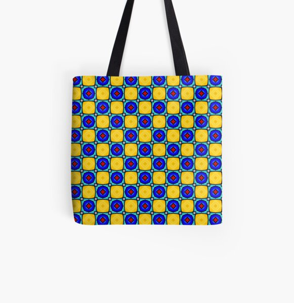 Yellow and Blue Polygon Tile Pattern All Over Print Tote Bag
